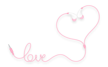 Earphones, In Ear type pink color and love text made from cable isolated on white background, with copy space