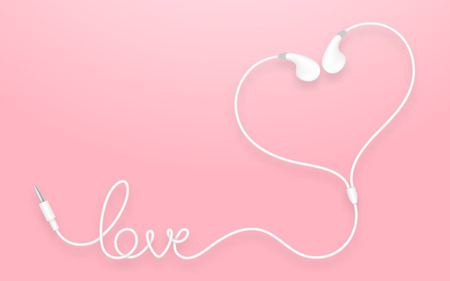 earbud: Earphones, Earbud type white color and love text made from cable isolated on pink gradient background, with copy space Illustration