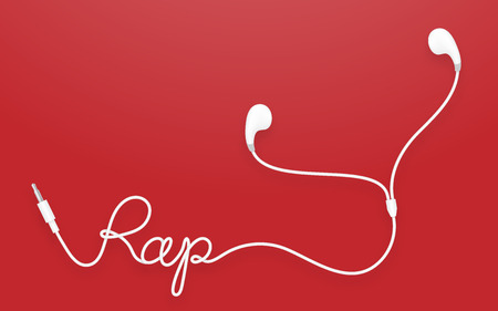 earbud: Earphones, Earbud type white color and rap text made from cable isolated on red gradient background, with copy space