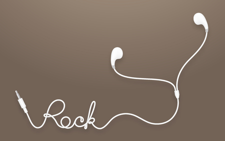 earbud: Earphones, Earbud type white color and rock text made from cable isolated on brown gradient background, with copy space