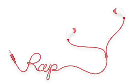 Earphones, In Ear type red color and rap text made from cable isolated on white background, with copy space