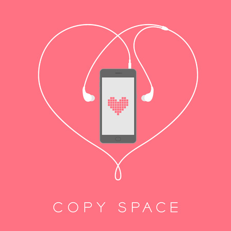 plugged: Smartphone black color flat design mock up, heart pixel pink color on screen template and heart shape made from earphones cable white color illustration isolated on pink background, with copy space
