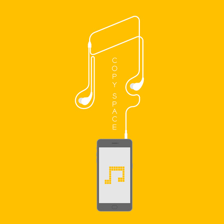 Smartphone black color flat design mock up, music note pixel yellow color on screen and music note shape made from earphones cable illustration isolated on yellow background, with copy space