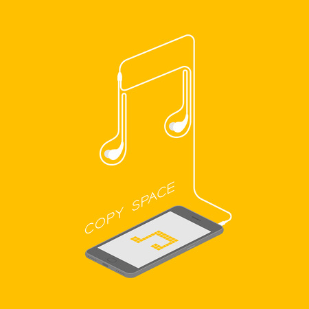 Smartphone black color isometric flat design, music note pixel yellow color on screen and music note shape made from earphones cable illustration isolated on yellow background, with copy space Illustration
