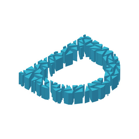 The letter D, in the alphabet broken 3d perspective isometric set blue color isolated on white background