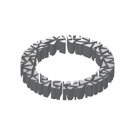 The letter O, in the alphabet broken 3d perspective isometric set silver color isolated on white background