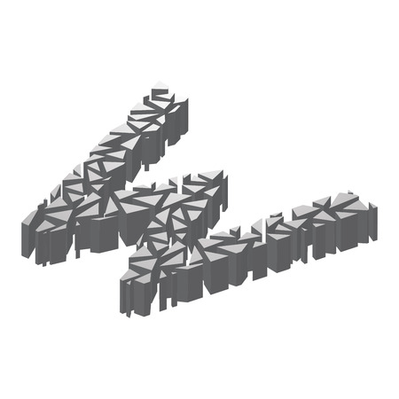 The letter W, in the alphabet broken 3d perspective isometric set silver color isolated on white background