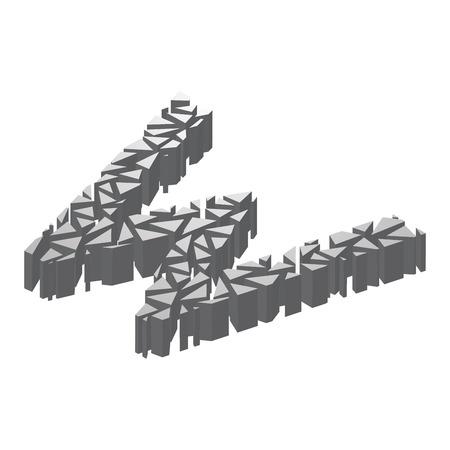 La letra W, en el alfabeto roto perspectiva isométrica 3d conjunto color de plata aislado en el fondo blanco