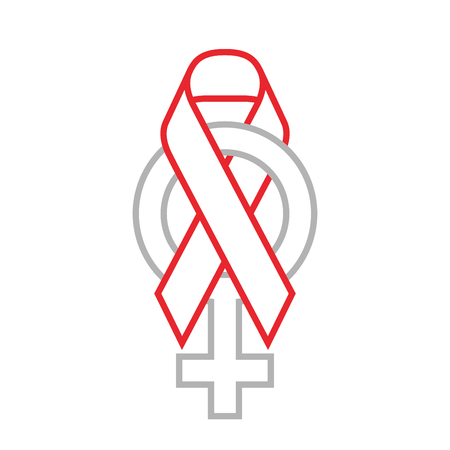 Red ribbon AIDS, HIV and female sign icon illustration, flat color outline stroke design set isolated on white background