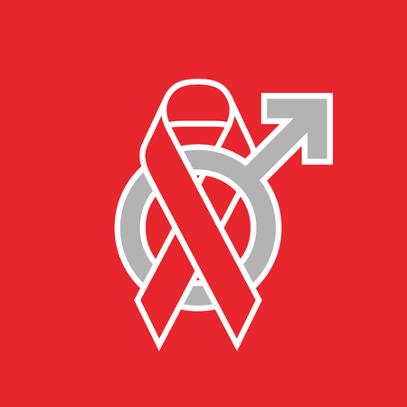 aids awareness ribbon: Red ribbon AIDS, HIV and male sign icon illustration, flat color outline stroke design set isolated on red background Illustration