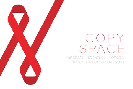 Red ribbon AIDS, HIV icon flat color design illustration isolated on white background, with copy space Illustration