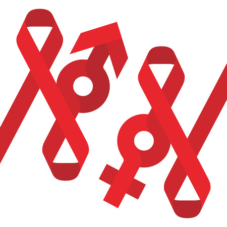 aids awareness ribbon: Red ribbon AIDS, HIV and male female sign icon flat color design illustration isolated on white background