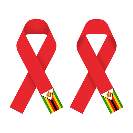 aids awareness ribbon: Red ribbon AIDS, HIV icon with Zimbabwe flag concept illustration, front and back side set isolated on white background
