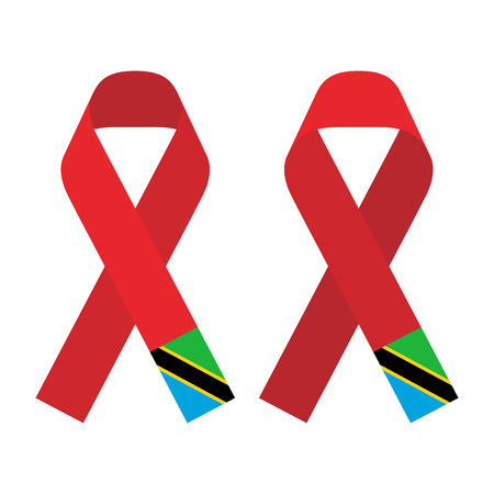 Red ribbon AIDS, HIV icon with Tanzania flag concept flat color illustration, front and back side set isolated on white background