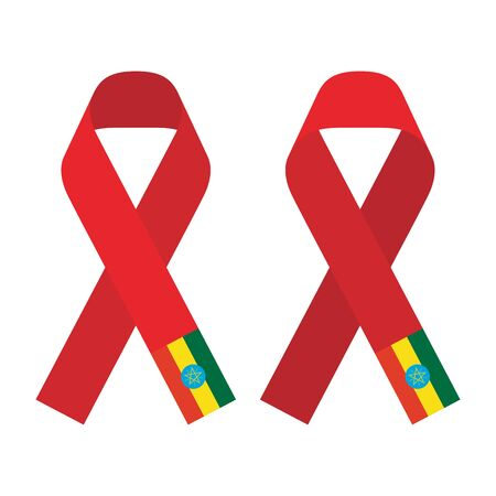 Red ribbon AIDS, HIV icon with Ethiopia flag concept flat color illustration, front and back side set isolated on white background Illustration