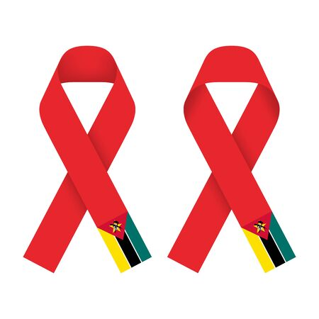Red ribbon AIDS, HIV icon with  Mozambique flag concept illustration, front and back side set isolated on white background