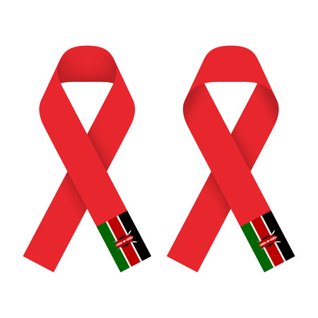 Red ribbon AIDS, HIV icon with  Kenya flag concept illustration, front and back side set isolated on white background