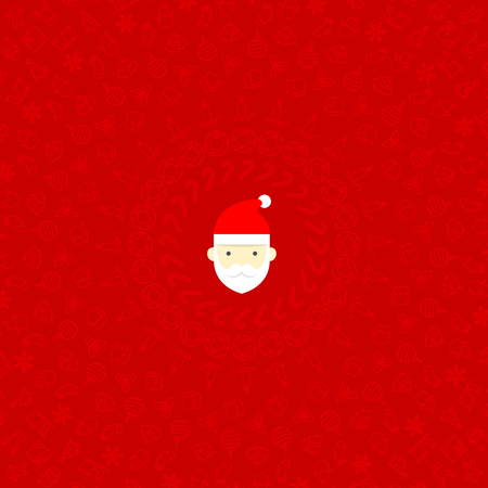 transparency color: Santa claus head icon and Christmas icon set pattern circle shape isolated transparency on red color background