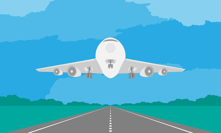 Aircraft or airplane landing or takeoff on runway in daytime illustration on blue sky and cloud background, with copy space