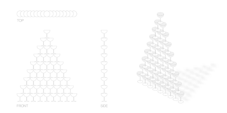 champagne tower pyramid, 45 glass illustration flat design black and white color with top, front, side view outline set isolated on white background