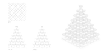 champagne tower pyramid, 140 glass illustration flat design black and white color with top, front, side view outline set isolated on white background