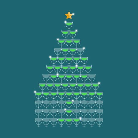 Champagne tower green color and star gold color made christmas tree illustration flat design isolated on dark blue color background