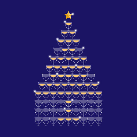 Champagne tower yellow gold color and star gold color made christmas tree illustration flat design isolated on dark blue color background