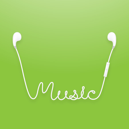 Earphones wireless and remote, earbud type white color and music text made from cable isolated on green gradient background, with copy space