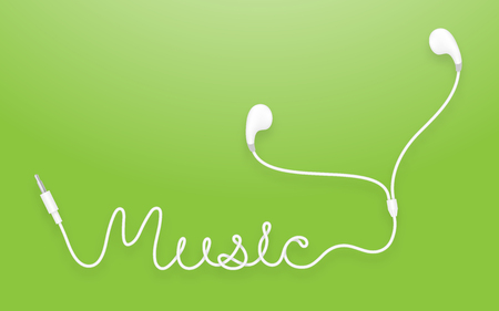 Earphones, Earbud type white color and music text made from cable isolated on green gradient background, with copy space