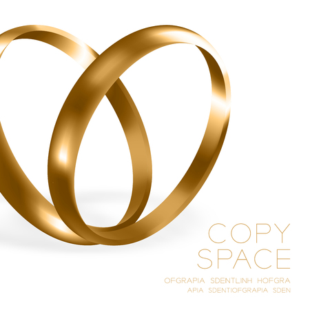 Wedding rings champagne gold half round style compose heart shape design illustration 3d set and shadow isolated on white background