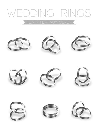 platinum: Wedding rings platinum silver flat style compose design illustration 3d set and shadow isolated on white background