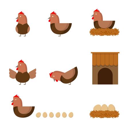 Hen chicken action story, henhouse and haystack illustration icon set flat design isolated on white background Illustration