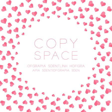 copy center: Heart icon flat color design pattern circle shape pink color isolated on white  color background, with copy space center