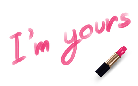 im: Im yours text write by Lipstick pink color isolated on white background, with copy space Illustration