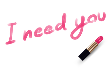 I need you text write by Lipstick pink color isolated on white background, with copy space