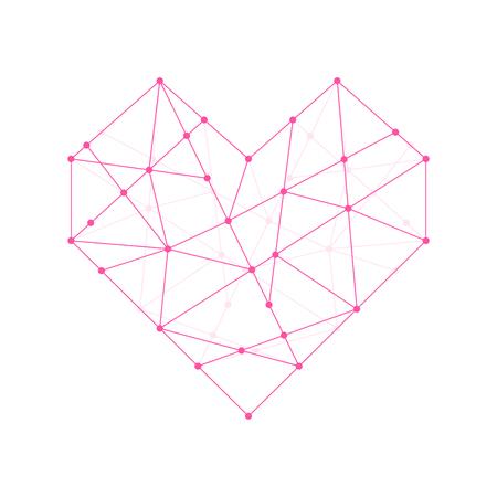 Heart shape icon illustration pink color, dot outline stroke design isolated on white background Vettoriali