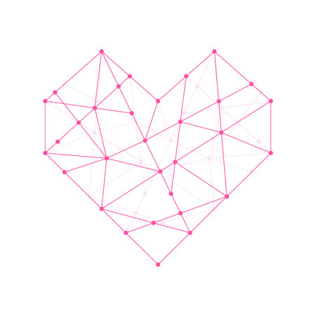 Heart shape icon illustration pink color, dot outline stroke design isolated on white background Ilustração