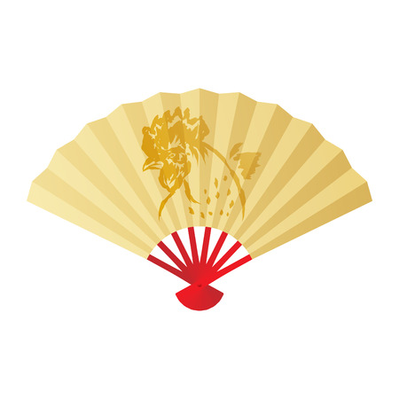 Folding fan or hand fan illustration gold color, paint rooster chicken and feather ink brush stroke design gold color isolated on white background, with copy space