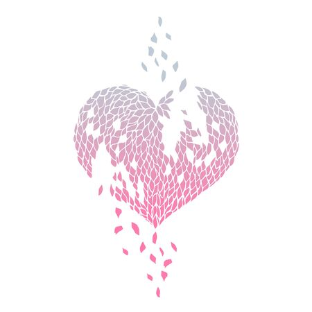 Heart petals flower break concept design pink purple gradients color illustration isolated on white background with copy space, vector eps10 Illustration