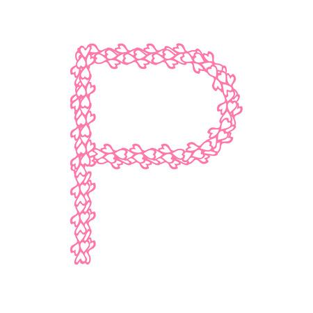 The Letter P In Alphabet Heart Flower Petals Illustration Set Flat Design Pink Color