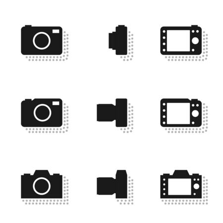 Camera icons with dot shadow, mirrorless and compact illustration silhouette set flat design black color isolated on white background, vector eps10