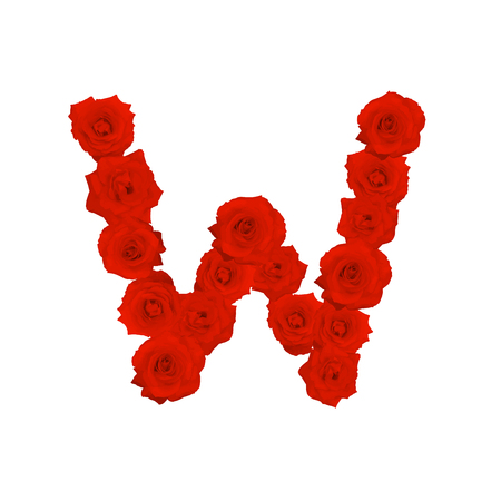 The letter W, in the Alphabet bloom red roses illustration set isolated on white background, vector eps10