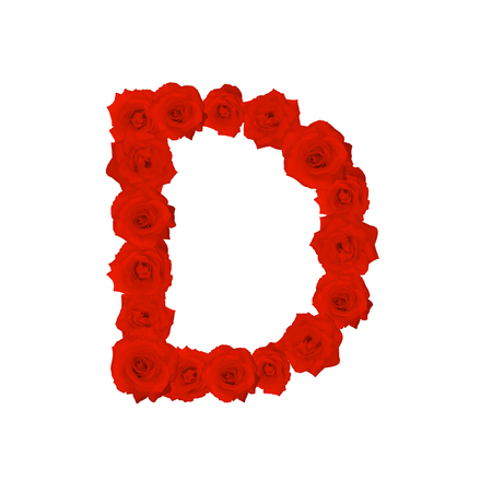d: The letter D, in the Alphabet bloom red roses illustration set isolated on white background, vector eps10