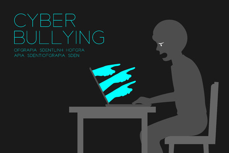 Victim man of internet social network cyber bullying dark editions concept idea, laptop and hate hand illustration isolated on white color background, with copy space