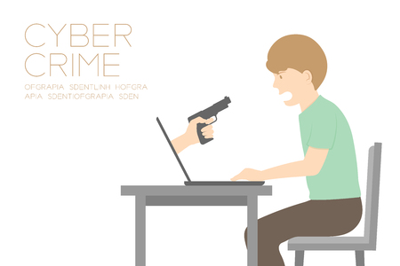Victim of internet cyber crime concept idea man, laptop and hand holding gun illustration isolated on white color background, with copy space