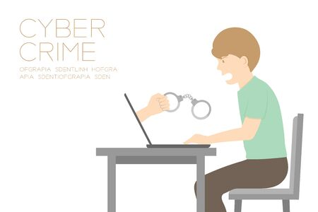 manacle: Victim of internet cyber crime concept idea man, laptop and hand holding handcuff illustration isolated on white color background, with copy space Illustration