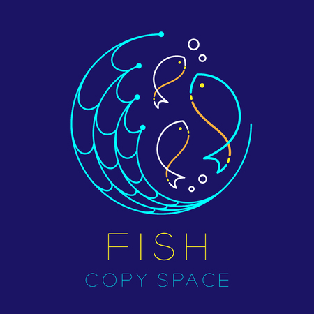 Fish, fishing net circle shape and air bubble logo icon outline stroke set dash line design illustration isolated on dark blue background with Fish text and copy space Imagens - 81799387