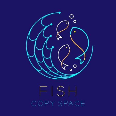 Poisson, forme de cercle de filet de pêche et icône de logo de bulle d'air contour contour défini illustration de conception de ligne de tiret isolé sur fond bleu foncé avec texte de poisson et espace de copie