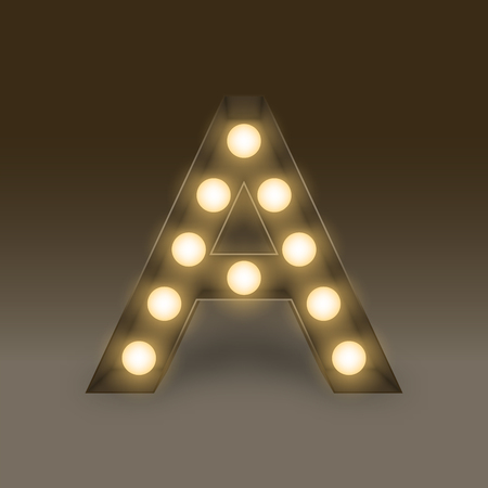 lamp light: Alphabet Incandescent light bulb box set letter A, illustration retro 3D style isolated glow in dark background