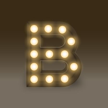 led display: Alphabet Incandescent light bulb box set letter B, illustration retro 3D style isolated glow in dark background Illustration